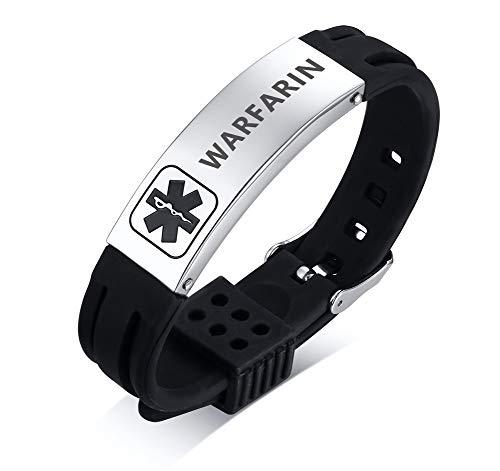 (WARFARIN Medical Alert Silicone Comfort Sport Wristband Emergency Medical Alert ID Bracelet for Men Women Kid Boy)