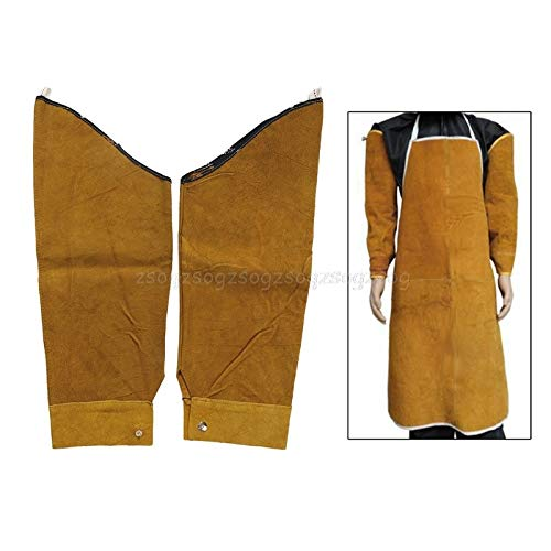 YSNBM Gloves Heat Resistant Welding Sleeves,Leather Sleeves for Welding, Button Closure,Spark Resistant Protection,1 Pair (Yellow) Gas Station,Dry Ice,Cold Storage,Industrial Glove