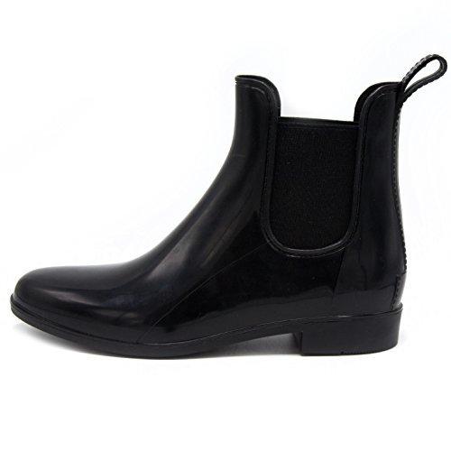 Sugar Women's Typhoon Shiny Rubber Ankle Bootie Waterproof Rain Boot 7 Black