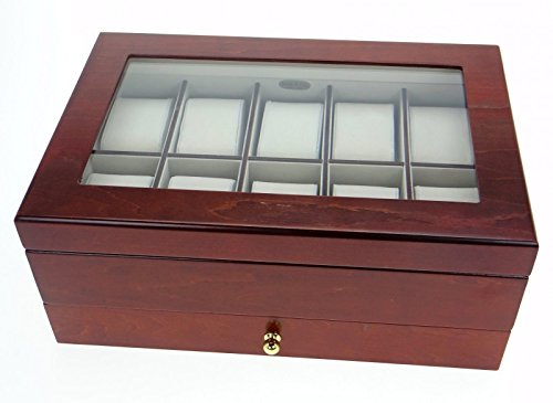 Edle Uhrenbox Sahir Nussbaumfinish Holz Uhrenschatulle Vitrine Uhr
