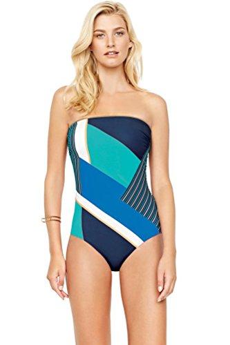 Gottex-Maritime-Blue-Bandeau-One-Piece-Swimsuit-Size-16