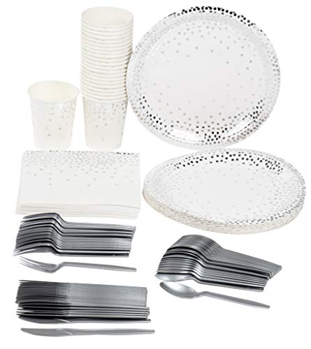 Disposable Dinnerware Set - Serves 24 - Party Supplies, Silver Foil Polka Dot Design, Includes Plastic Knives, Spoons, Forks, Paper Plates, Napkins, Cups, Birthday, Bridal Shower Party -