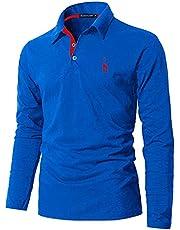 GHYUGR Poloshirt voor heren, lange mouwen, modieus, borduurwerk, giraffe, T-shirt S-2XL