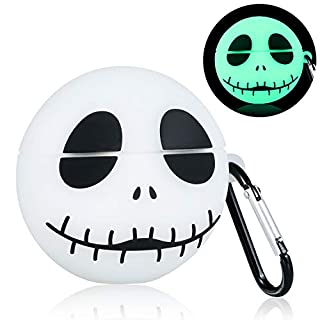 Lupct Case for Airpods Pro/ 3, Funny Fun Cartoon Silicone Design, Cute 3D Fashion Cool Character for Kids Teens Girls Air pods Pro Soft Skin Carabiner Protective Cover for Airpod 3 [Luminous Skull]