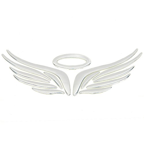 3D Chrome Angel Wing Sticker Decal Auto Car Emblem Decal Decoration Color Silver
