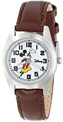 Disney Women's D148S008 Mickey Mouse Brown Leather Strap Watch