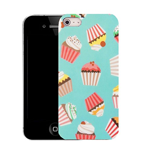 Mobile Case Mate IPhone 4 clip on Silicone Coque couverture case cover Pare-chocs + STYLET - blue cupcake pattern (SILICON)