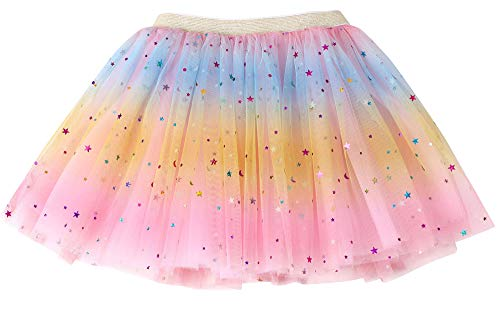Simplicity Girls Tutu Skirt Pink Rainbow Princess Ballet Toddler Tutu for 2-8 Years