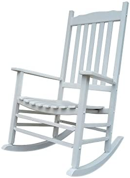 Rocking Rocker – A001WT White Porch Rocker Rocking Chair – Easy to Assemble – Comfortable Size – Outdoor or Indoor Use