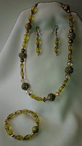 [Uniquely'U Vintage Olive Green Glass Bead Set] (Funky Punk Bones Adult Costumes)