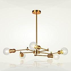 5-Light Sputnik Chandelier Lighting VINLUZ Brushed Brass Modern Pendant Lights Vintage Semi Flush Mount Ceiling Light for Dining Room Bed Room Kitchen Room