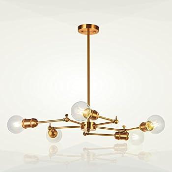 5 Light Sputnik Chandelier Lighting VINLUZ Brushed Brass Modern Pendant  Lights Vintage Semi Flush Mount Ceiling Light For Dining Room Bed Room  Kitchen Room