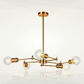 Sputnik Chandelier Light 5 Lights VINLUZ Modern Brass Pendant Lighting Vintage Semi Flush Mount Ceiling Light For Dining Room Bed Room Kitchen Room
