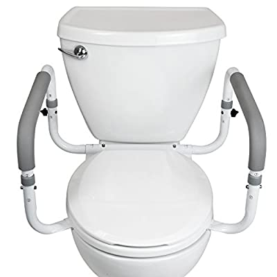 Toilet Safety Frame by Vive - Adjustable, Compact Support Hand Rails for Bathroom Toilet Seat - Easy Installation for Handicap Senior Bariatrics & Elderly