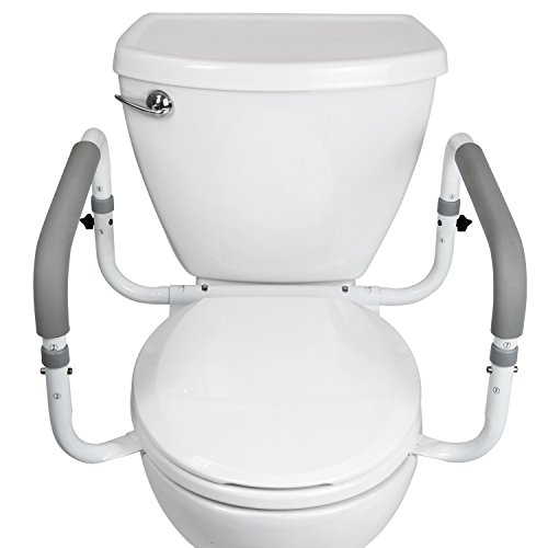 Toilet Safety Frame by Vive - Adjustable, Compact Support Hand Rails for Bathroom Toilet Seat - Easy Installation for Handicap Senior Bariatrics & Elderly (Safety Support)