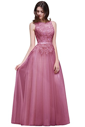MisShow Sleeveless Dusty Pink Lace Applique Evening Prom dress