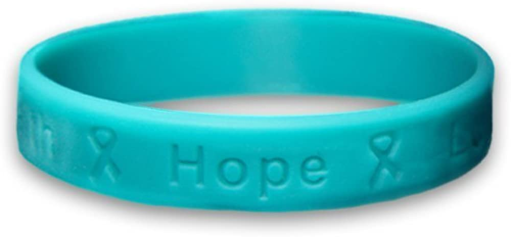 Amazon Com Ovarian Cancer Awareness Teal Ribbon Hope Silicone Bracelets 3 Pack Jewelry