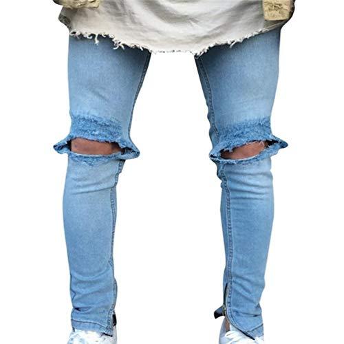 Hx Fashion Jeans Da Uomo Lavati Con Stropicciatura Color Ruggine Taglie Comode Decorazione Chiusura Dritta Pantaloni In Denim Casual Fori Strappati A Matita Stretch Abiti 1846