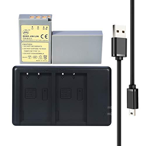 QIAOJINLIN 2-Pack PS-BLS5 BLS-5 Battery + Quick Dual USB Charger for Olympus E-400,E-410,E-420,E-450,E-P1,E-P2,E-P3,E-PL1,E-PL2, E-PL5,E-PL6,E-PL7,E-PM1,E-PM2,E-M10,E-PLE15 Stylus 1 Digital Camera