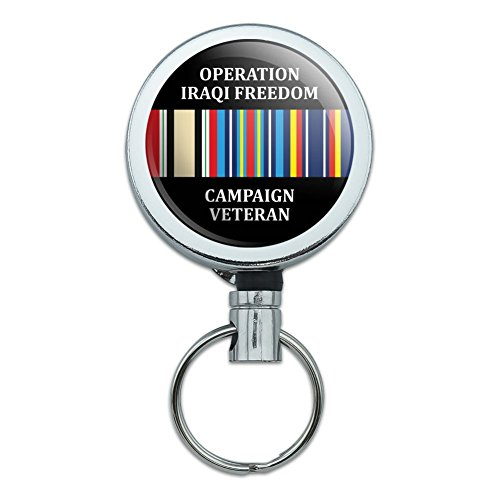 - Marines Operation Iraqi Freedom Campaign Veteran Ribbon OIF Officially Licensed Heavy Duty Metal Retractable Reel ID Badge Key Card Tag Holder with Belt Clip