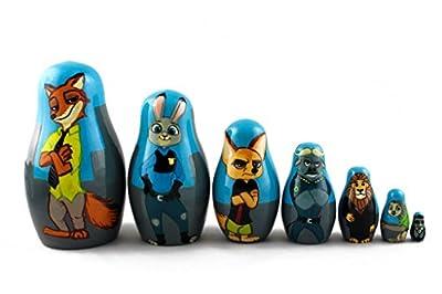 Matryoshka Russian Nesting Wooden Doll Zootopia Zveropolis Judy Hopps Nick Wilde 7 Pcs Set Stacking Hand Painting Nested Matresjka Matriojska Matreska Matrioska Matreshka Matrjoska Matroeska