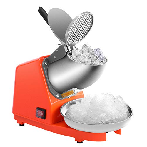 Automatic Ice Crusher - VIVOHOME Electric Dual Blades Ice Crusher Shaver Snow Cone Maker Machine Orange 143lbs/hr for Home and Commerical Use