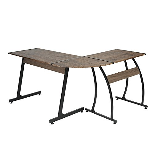 Dark Brown Finish / Black Metal Wood L-Shape Corner Computer Desk PC Laptop Table Workstation Home (Metal Wood Finish Table)