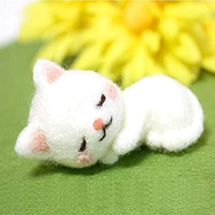 1Pcs Non Finished Felting Poked Very Lovey Cat Handcraft Wool Felt Poked Set DIY Felt for Needle Material Bag Material Package