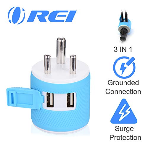 India, Nepal, Maldives Travel Plug Adapter by OREI with Dual USB - USA Input + Surge Protection - Type D (U2U-10), Will Work with Cell Phones, Camera, Laptop, Tablets, iPad, iPhone and More (Best Lightweight Laptops In India)