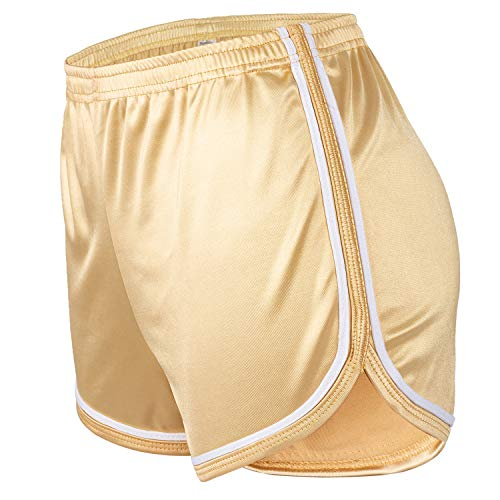Dtone Running Workout Sports Shorts for Women Casual Summer Teen Girls Athletic Active Fitness Short with High Elastic Waist Gold