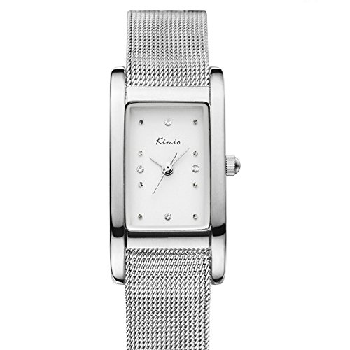 Fashion Casual Rhinestone Square Dial Mesh Shaped Stainless Steel Band Women Quartz Watch, Silver (Relic Steel Mesh Watch)