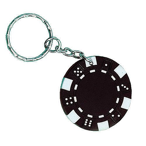 Shindigz Unimprinted Black Poker Chip Key Chains