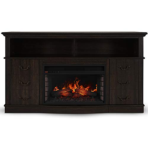 BELLEZE Electric Fireplace TV Stand Media Console Table with Remote Control for TVs Up to 65″, Espresso
