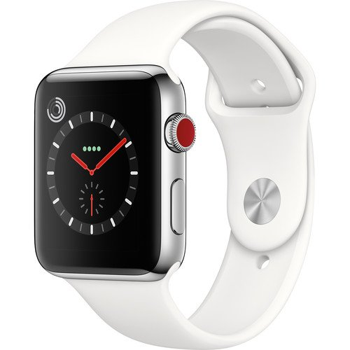 Apple Watch Series 3, 42MM, GPS + Cellular, Stainless Steel Case, Soft White Sport Band (Renewed)