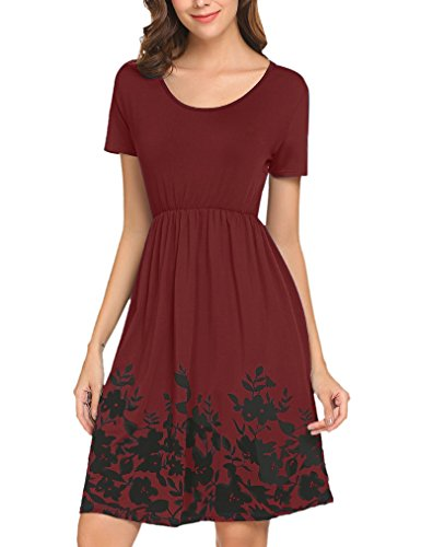 Dresses Spring Junior (Halife Womens Short Sleeve Flower Printed Pleated Swing Midi Dress with Pockets Wine,XL)