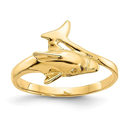 JewelrySuperMartCollection 14k Yellow Gold Dolphin Ring (12mm Width) - Size 7