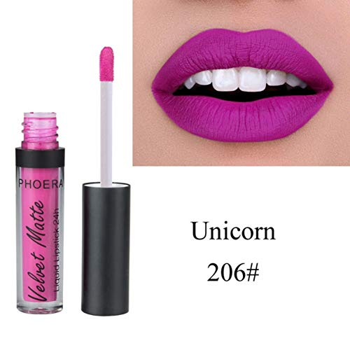- Liquid Lip Gloss Lipstick Velvet Matte Long Lasting Waterproof Creamy Lipstick Makeup Liquid Lipstick Glitter Liquid Dyeing Blusher Tint Lip Color Gloss Tint Lady Lip Glosses for Women (206# Unicorn)