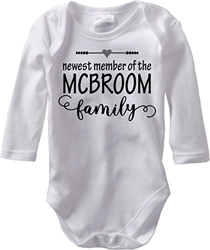 Jaka's Closet The Newest Member - Custom Baby Name Birth Announcement (3M Long Sleeve Bodysuit, Dark Gray ()