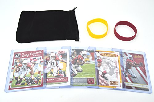 Fitzgerald Larry Jersey (Larry Fitzgerald Football Cards Assorted (5) Bundle - Arizona Cardinals Trading Cards)