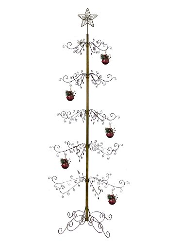 HOHIYA Metal Christmas Xmas Halloween Ornament Display Tree Stand Hook Hanger Bauble Ball Dog Cat Glass Class Photo Personalized Home Party Craft Country Decorations 84inch(Gold)