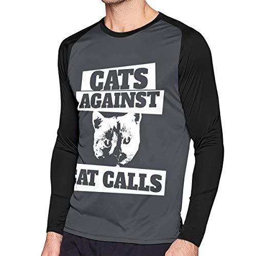 Crazy Popo Men's Casual Cats-Against-cat-Calls Long Reglan Baseball Tee