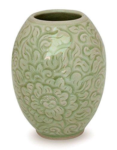 NOVICA Floral Celadon Ceramic Vase, Green, Thai Peony' by NOVICA
