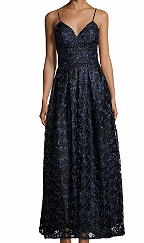 Nicole Miller Navy Womens Pleated Ribbon Lace Gown Blue 12