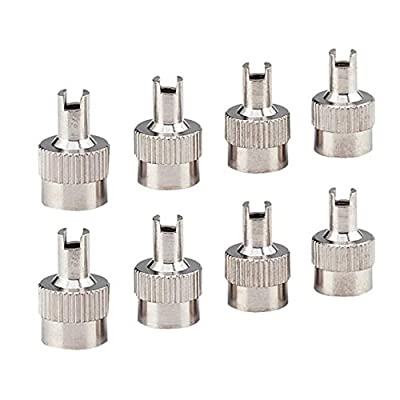 UJKIO 8pcs/Set Chrome Metal Slotted Head Valve Stem Caps with Core Remover Tool : Garden & Outdoor