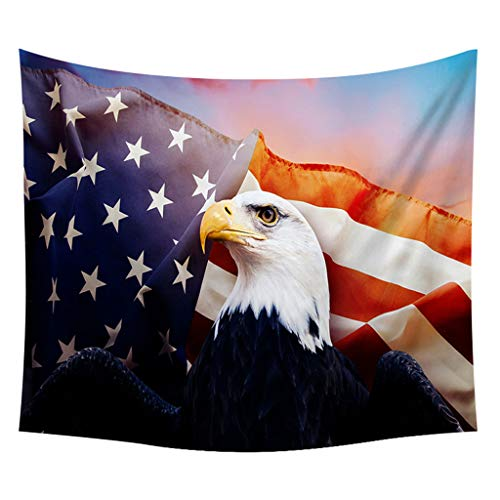 Tapestry Wall Hanging Independence Day Statue of Liberty Print Wall Decor with LED Stripes Ameican Patriotic Freedom Inspire Eagle Mural Art Table Cover for Living Room Bedroom Dorm ()