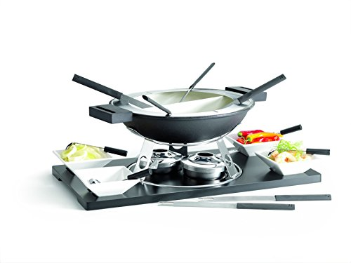 Domestic 20-Piece Fondue Set including 1-MDF Platter/ Rechaud/ Fondue Pot and Fork Holder/ 2-Burner, 4-Bowls... by Domestic Brand