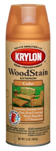 Krylon K03601000 Exterior Semi-Transparent Wood Stain, Cedar, 12 Ounce