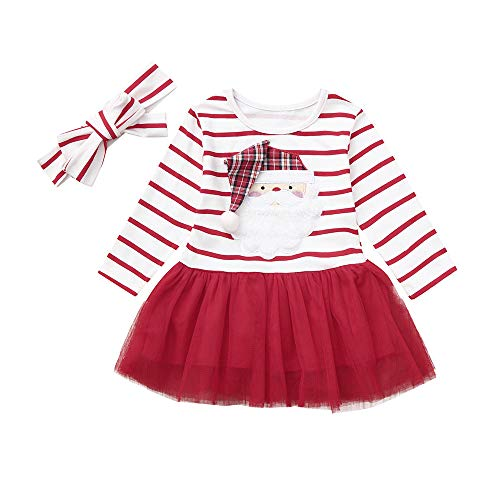Toddler Baby Girls Christmas Dress Cute Santa Printed Long Sleeve Striped Tutu Xmas Holidays Dress (18-24 Months, Red) -