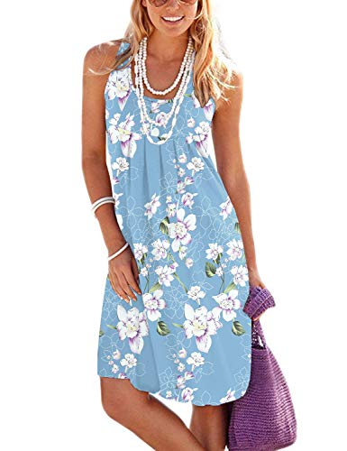 Jouica Bikini Swimsuit Swimwear Dresses for Women Beach Cover Up Cotton Crew Neck Dresses(Flower Light Blue,L)