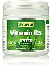 Vitamin B5 (Pantothensäure), 100 mg, hochdosiert, 180 Tabletten, vegan – für geistige Leistungsfähigkeit. Wichtiger Beauty-Faktor. OHNE künstliche Zusätze. Ohne Gentechnik.